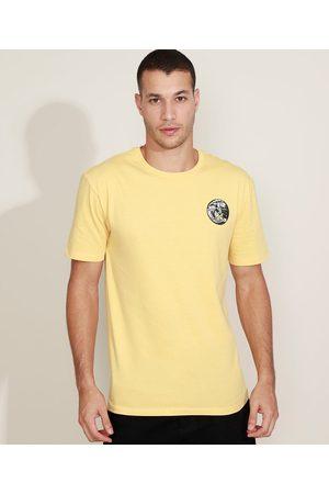 """Suncoast Camiseta Masculina Aloha"""" Manga Curta Gola Careca Amarela"""""""