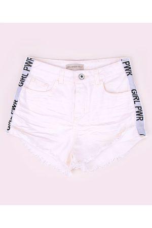 "Fifteen Short de Sarja Juvenil Girl PWR"" com Barra Desfiada Off White"""
