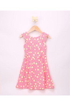PALOMINO Vestido Infantil Texturizado de Corações com Vazado e Babado Alça Larga Rosa