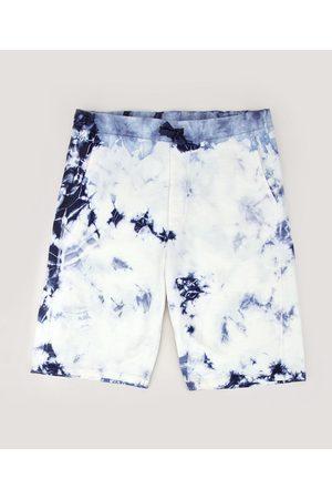 Fifteen Bermuda de Moletom Juvenil Tie Dye com Bolsos Azul Marinho