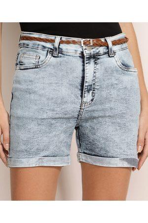YESSICA Short Jeans Feminino Reto Cintura Média Barra Dobrada com Cinto Azul Claro