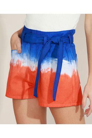 Clockhouse Short de Sarja Feminino Chochard Cintura Alta Estampado Tie Dye com Faixa Multicor