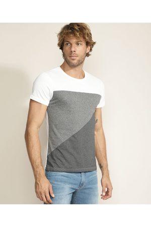 AL Contemporâneo Camiseta Masculina com Recortes Manga Curta Gola Careca Branca