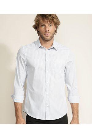 ANGELO LITRICO Camisa Masculina Confort Estampada Listrada Manga Longa Branca