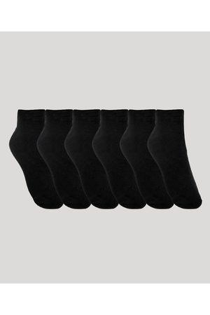 ACE Kit de 6 Meias Soquete Masculinas Esportivas Preta