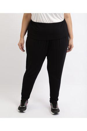 ACE Calça Feminina Plus Jogger Yoga Cintura Alta Preta
