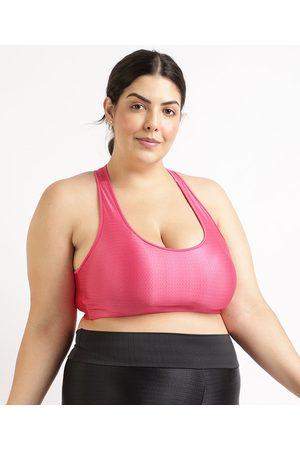 ACE Top Feminino Plus Size Esportivo Texturizado com Bojo Removível Decote Nadador Pink