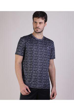 ACE Camiseta Masculina Esportiva Estampada Camuflada Manga Curta Preta