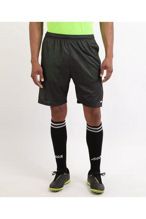 ACE Homem Short - Calção Masculino Esporte Futebol Estampado de Linhas com Bolsos e Cós com Elástico