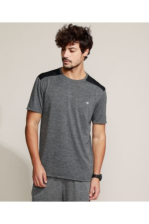 ACE Camiseta Masculina Esportiva Com Recorte Manga Curta Gola Careca Mescla Escuro