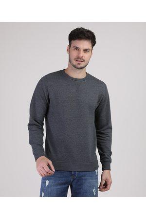 Basics Homem Casacos - Blusão Masculino Básico em Moletom Gola Careca Mescla Escuro