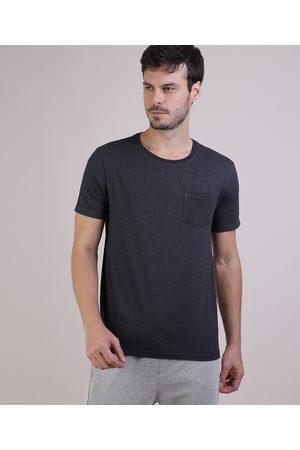 Basics Homem Manga Curta - Camiseta Masculina Básica com Bolso Manga Curta Gola Careca Mescla Escuro