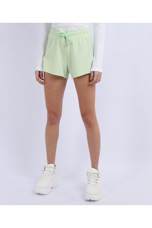 Basics Short de Moletom Feminino Básico Running com Recorte Cintura Alta Claro