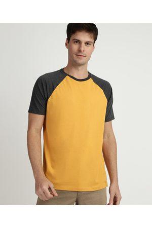 Basics Homem Manga Curta - Camiseta Masculina Básica Raglan Manga Curta Gola Careca Amarela