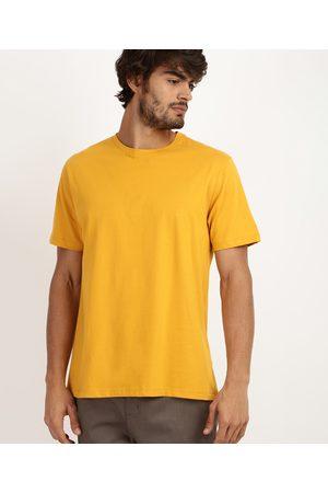 Basics Homem Manga Curta - Camiseta Masculina Básica Manga Curta Gola Careca Mostarda