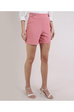 Basics Mulher Short - Short Feminino Básico Cintura Alta com Botões e Bolsos Claro