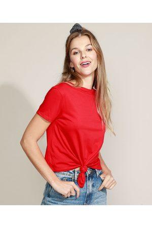 Basics Blusa Feminina Básica com Nó Manga Curta Decote Redondo Vermelha
