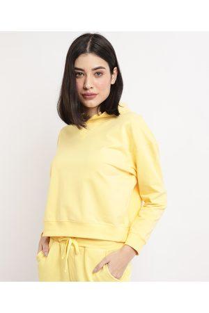 Basics Blusão de Moletom Feminino Básico Cropped com Capuz