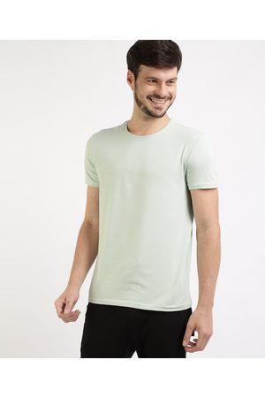 Basics Camiseta Masculina Básica com Elastano Manga Curta Gola Careca Claro