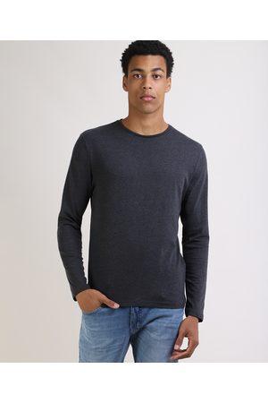 Basics Camiseta Masculina Básica Comfort Fit Manga Longa Gola Careca Mescla Escuro