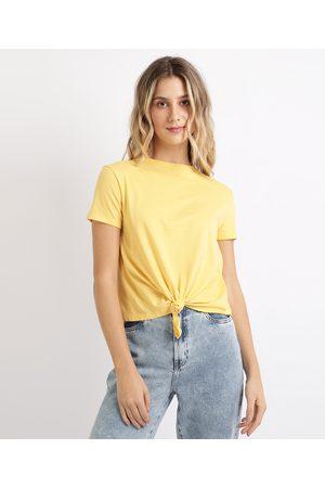 Basics Blusa Feminina Básica com Nó Manga Curta Decote Redondo Amarela