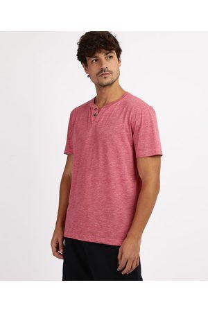 Basics Camiseta Masculina Básica Flamê Manga Curta Gola Portuguesa Vermelha