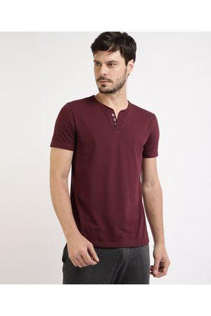 Basics Camiseta Masculina Básica Manga Curta Gola V com Botões