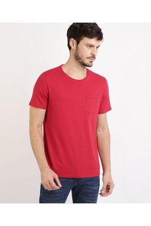 Basics Camiseta Masculina Básica com Bolso Manga Curta Gola Careca Vermelha