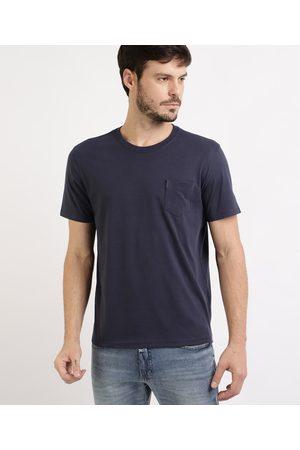 Basics Camiseta Masculina Básica com Bolso Manga Curta Gola Careca
