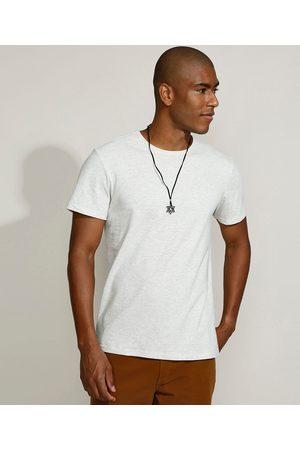 Basics Camiseta Masculina Básica Manga Curta Gola Careca Off White
