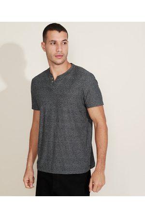 Basics Camiseta Masculina Básica Manga Curta Gola Portuguesa Cinza mescla escuro