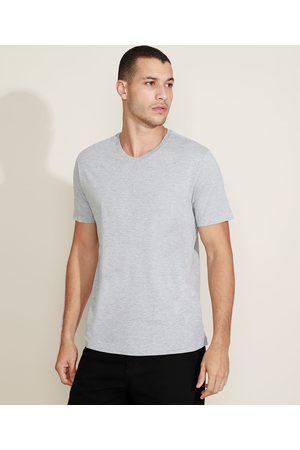 Basics Camiseta Masculina Básica Manga Curta Gola V Mescla Claro