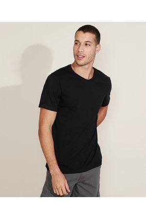 Basics Camiseta Masculina Básica Manga Curta Gola V Preta