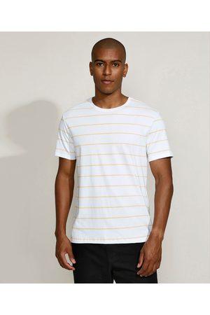 Basics Camiseta Masculina Básica Listrada Manga Curta Gola Careca Mostarda