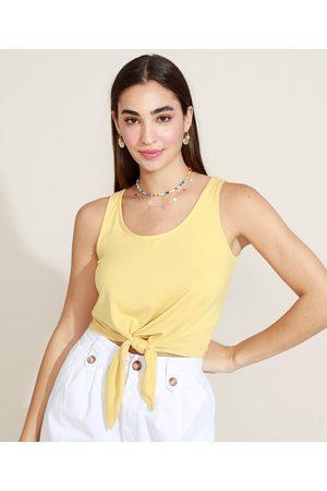 Basics Regata Feminina Básica Cropped com Nó Decote Redondo Amarela