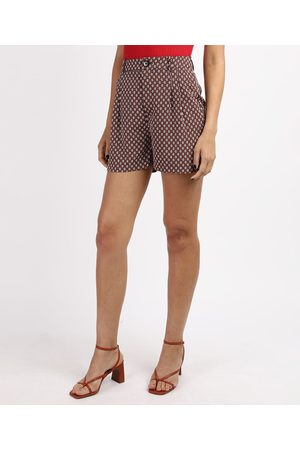 City Mulher Short - Short Feminino Cintura Alta Alfaiatado Geométrico com Bolsos Azul Marinho