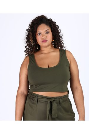 City Top Cropped Feminino Plus Size Alça Larga Decote Redondo Militar