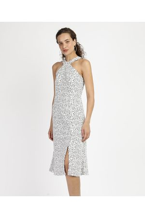 City Vestido Feminino Midi Halter Neck Animal Print Onça Off White
