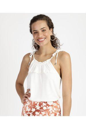 City Regata Feminina com Babados Alça Fina Decote Redondo Off White
