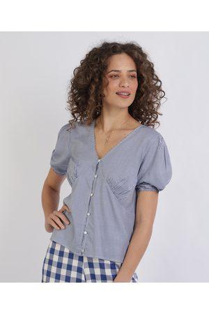 City Blusa feminina Estampada Xadrez com Botões Manga Curta e Decote V Azul