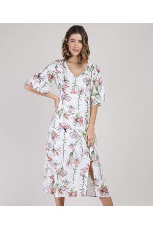 City Mulher Vestido Estampado - Vestido Feminino Midi Floral com Fenda Manga Curta Branco