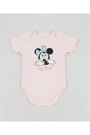 Disney Body Infantil Minnie Manga Curta Claro