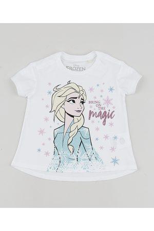 Disney Blusa Infantil Frozen Elsa Manga Curta Branca