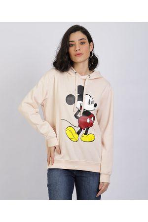 Disney Mulher Casacos - Blusão de Moletom Feminino Mickey com Capuz Claro