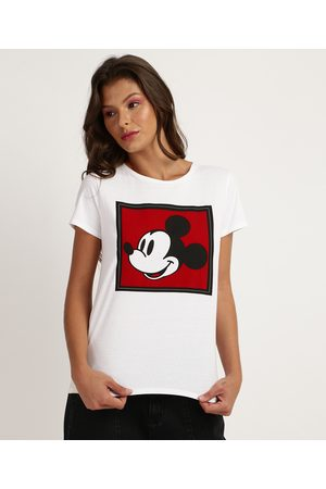 Disney Blusa Feminina Mickey Mouse Manga Curta Decote Redondo Off White