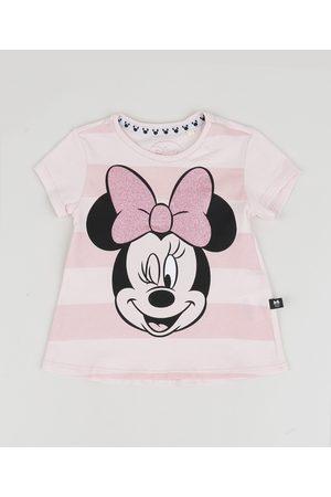 Disney Blusa Infantil Minnie Listrada com Glitter Manga Curta Rosa Claro