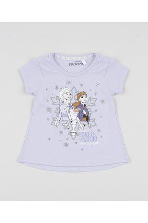 Disney Blusa Infantil Frozen com Glitter Manga Curta Lilás