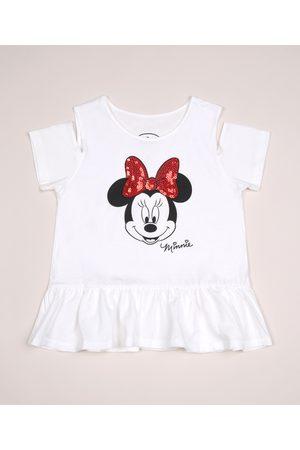 Disney Blusa Infantil Minnie Open Shoulder com Babado Branca