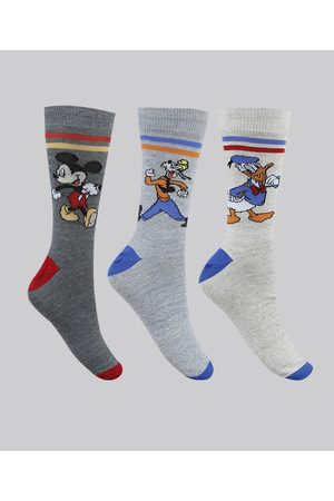 Disney Kit de 3 Meias Masculinas Cano Alto Turma do Mickey Mescla