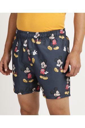 Disney Homem Short - Short Masculino Mickey com Elástico Azul Marinho